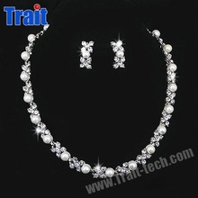 Jewelry Set Type: Necklace, earrings Pearl Plated Silver Dimond Bridal Jewelry Set