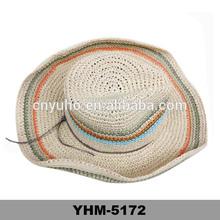 2014 grils beach hats wholesale strip crochet summer sun hats and caps