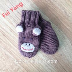 Brown Knitted Boy Mitten Gloves Monkey Pattern