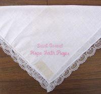 Wholesale ladies plain white lace handkerchief white cotton lace edged handkerchief