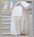 venta caliente plisado vestido de gasa blanca larga falda de la mujer