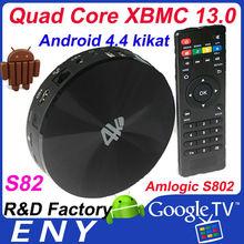 google tv box android mini pc Quad Core S802 2.0GHz M8 android 4.4 xbmc skype wifi 4K android tv box