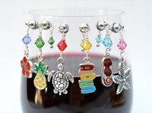 WM-10678 6 6 Hawaiian Magnetic Wine Charms, Summer Wine accessories, funny wine accessories