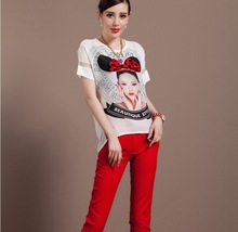 2014 High Quality Summer Two Piece Suit O-Neck Short Sleeve Print Bow Beauty Avatar Coat +Red Seven Pants Suit BELKH0525