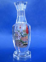 beautiful crystal bottle painted peony flowers for decoration