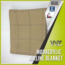 Soil color grid design 100% modacrylic flame retardant airline blanket airplane blanket