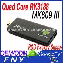 MK809III Quad Core RK3188 Cortex-A9 1.8GHz 2GB 8GB Bluetooth quad core hdmi dongle mini pc android 4.2