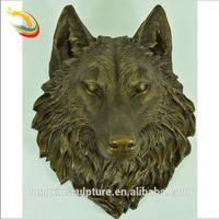 Antique Garden Decorative Bronze Wolf Head Sculpture/Bronze Animal Statue