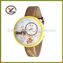 fancy round leather band clay watch kids waterproof sport watch
