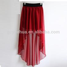 Hot summer pure color irregular chiffon skirt short Dovetail skirt