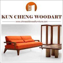 Elegant style livingroom solid wood sofa set/wood trim sofa with China factory