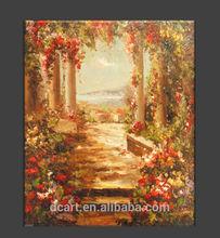 Mediterranean flower garden scenery oil painting on canvas