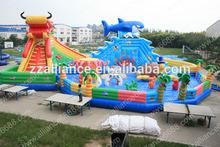 2014 giant inflatable sport dragon shark chlildren paradise PVC slide