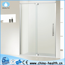 Tempered Glass Smart Hinge Pivot Shower Door, with Stainless Steel Square Support Bar JP204