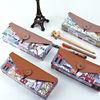 Languo map label style wooden pencil case / fancy pencil case model: LGDT-2625: