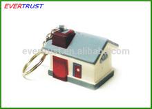 house shaped keychain pu house keychain promotional custom key chain