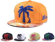2014 New Embroidery Coconut Palms Flat Along Baseball Caps Man And Woman Hip-hop Cap