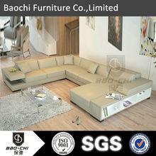 High quality U shaped sectional sofa leather sofa grey C1120