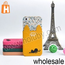 Fashion Cat Series with PU Card Pocket Design Hard Cute Cat Case for iPhone 5/5S