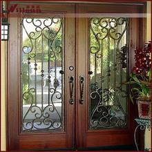 Doble de madera puerta puerta de hierro forjado puerta de entrada