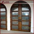 bois et fer forgé porte extérieure en verre