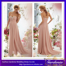High Quality Brand Name Pink Sheath Sweetheart Button Back Beaded Chiffon Evening Dress Made In China Prom Dress China (AB0312)
