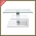 natural stone white lacquered red glass coffee table