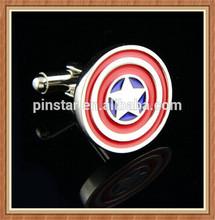 2014 New Custom New Captain America Novelty Superhero Cufflinks Shield Star Wedding Gift
