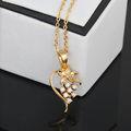 Moda bela ouro flor pingente de colar