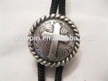 Cowboy Western Bolo Tie - Round Cross Concho, custom logo bolo tie