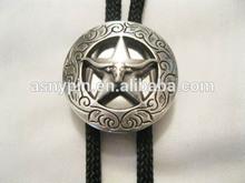 Cowboy Western Bolo Tie- Texas Longhorn Concho, 3D star metal Bolo Tie, pewter Bolo Tie