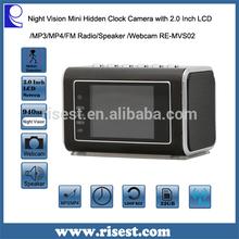 Infrared Clock Hidden Speaker Camera Motion Detection +MP3/MP4+Clock + Speaker +Webcam+FM RE MVS02
