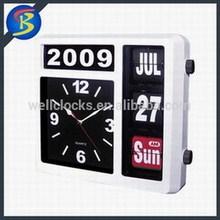 Plastic Auto Flip Table Clock Day Date Calendar Clock