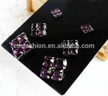 3prs/set Fashion New Elegant Purple Gem Square Alloy Women's Earring