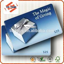 CR80 Standard Size Pvc Plastic Vip printing card/gift card/loyalty card