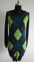 Ladies round neck jacquard knit sweater dress