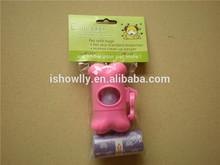 Top quality pet 100% degradable dog poop bag dispenser/waste bag dogie clean-up bag with dispenser