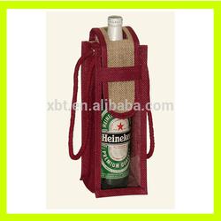 Red Jute wine tote bag