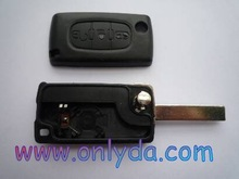 Auto key for Peugeot 307 3 button flip key case light button key blank high quality with battery contact