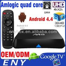 Smart TV Box Android4.4 2G RAM 8G ROM XBMC Skype dual wifi amlogic s802 quad core tv box android 4.2