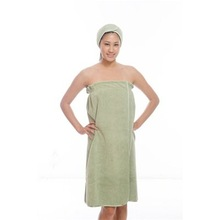 Luxury Microfiber Spa Wrap, Button Snap,Olive Green