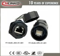 ip68 del panel frontal montado macho hembra impermeable conector rj45 con cable ethernet