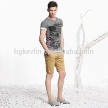 High waist casual tight slimming cotton mens chino shorts
