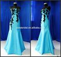 2014 Strapless longo Ice Blue Black Lace sereia imagem Real do vestido de noite