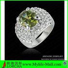 Platinum Plating Green Austrian Crystal Ring