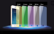 Free sample 5 colors gold/green/red/blue/silver Ultra clear lcd tempered glass screen protectors guard for iphone
