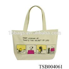 2014 cute dog organic cotton handled shopping bag