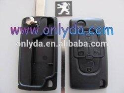 key blank case wholesale Peugeot 307 VA2 4 button flip remote key blank without battery holder