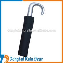 21inch*8ribs 3 folding umbrella with silver curve handle auto open close