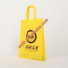 heavy duty foldable yellow printd non wowon tote bag